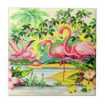 Pájaros rosados retros del flamenco del vintage azulejo cuadrado pequeño