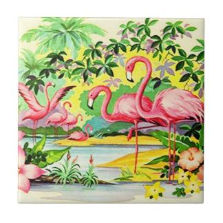 Pájaros rosados retros del flamenco del vintage qu