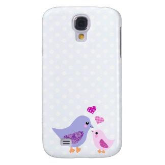 Pájaros rosados y púrpuras lindos de la madre y de