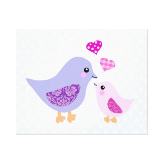 Pájaros rosados y púrpuras lindos de la madre y de lona estirada galerías