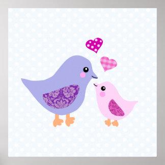 Pájaros rosados y púrpuras lindos de la madre y de impresiones