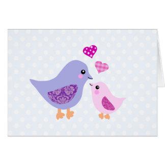 Pájaros rosados y púrpuras lindos de la madre y de tarjetas