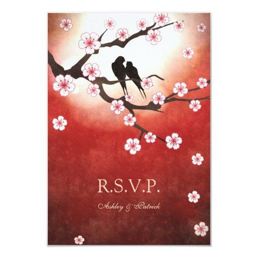 """Pájaros RSVP de Sakura y del amor Invitación 3.5"""" X 5"""""""