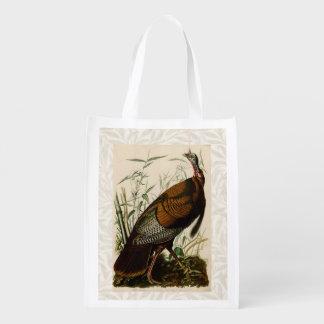 Pájaros salvajes del vintage de Audubon Turquía de Bolsa Reutilizable