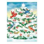 Pájaros salvajes en naturaleza con el árbol de nav tarjeta postal