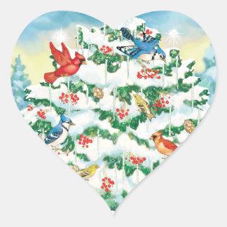 Pájaros salvajes en naturaleza con el árbol de calcomania de corazon personalizadas