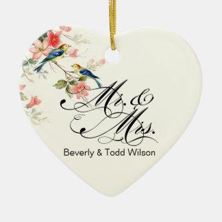 Pájaros Sr y señora FOTO blanca del amor del Adorno De Reyes