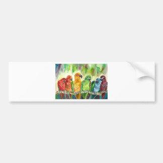 Pájaros tropicales etiqueta de parachoque