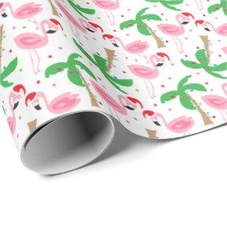 Pájaros tropicales de los flamencos del navidad de papel de regalo