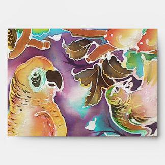 Pájaros tropicales en la pintura de seda del paraí