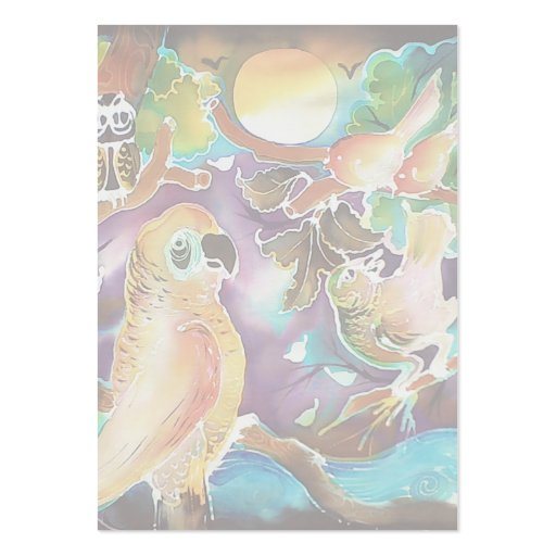 Pájaros tropicales en la pintura de seda del tarjetas de visita grandes