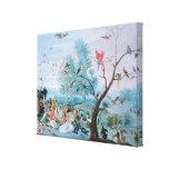 Pájaros tropicales en un paisaje impresión en lona estirada