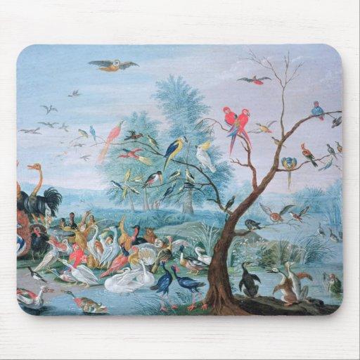 Pájaros tropicales en un paisaje tapete de ratones