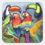 Pájaros tropicales calcomania cuadrada personalizada