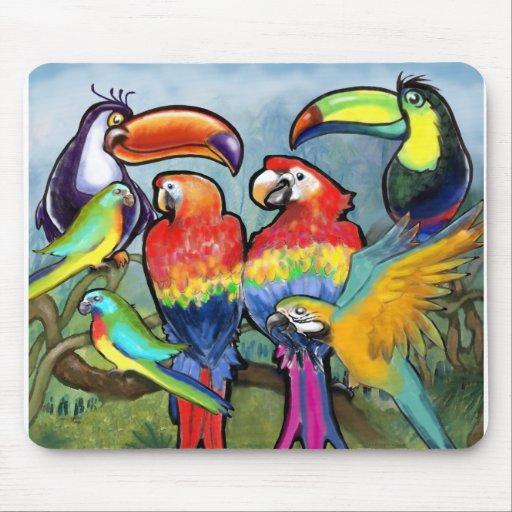 Pájaros tropicales alfombrillas de ratón