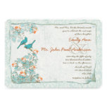 Pájaros turquesa del vintage y boda del damasco de invitaciones personalizada