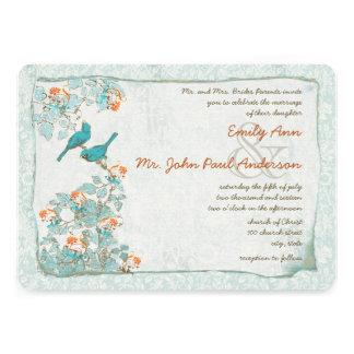 Pájaros turquesa del vintage y boda del damasco de