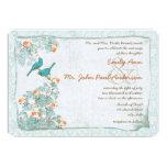 Pájaros turquesa del vintage y boda del damasco invitaciones personalizada