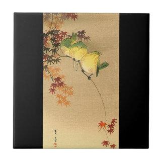 Pájaros verdes en el árbol de arce, arte japonés c azulejo