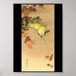 Pájaros verdes en el árbol de arce, arte japonés c poster