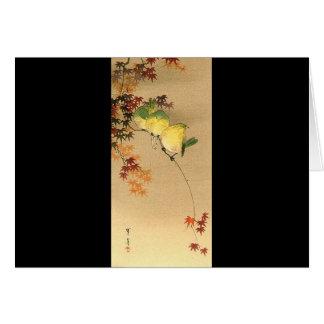 Pájaros verdes en el árbol de arce, arte japonés c tarjeta de felicitación