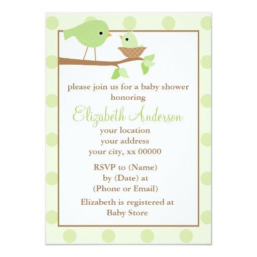 """Pájaros verdes en una fiesta de bienvenida al bebé invitación 5"""" x 7"""""""