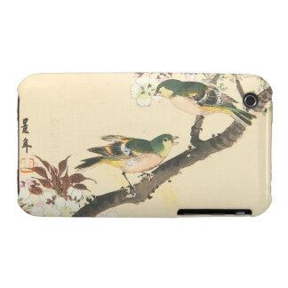 Pájaros verdes y arte de Imao Keinen oriental de l iPhone 3 Case-Mate Coberturas