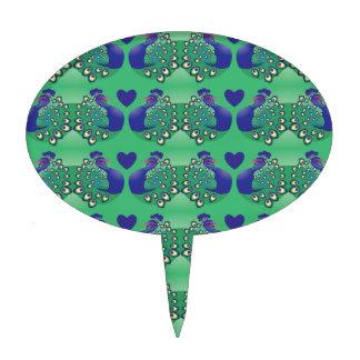 Pájaros verdes y azules hermosos de los pavos real decoración de tarta