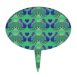 Pájaros verdes y azules hermosos de los pavos real figuras de tarta