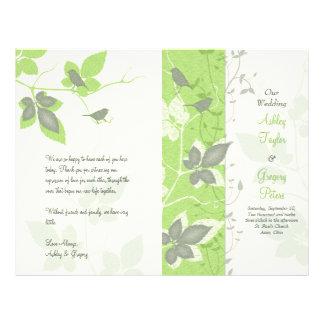 """Pájaros verdes y vides grises que casan programa folleto 8.5"""" x 11"""""""