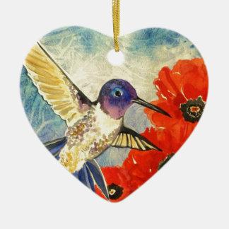 Pájaros y amapolas del tarareo adorno navideño de cerámica en forma de corazón