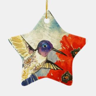 Pájaros y amapolas del tarareo adorno navideño de cerámica en forma de estrella