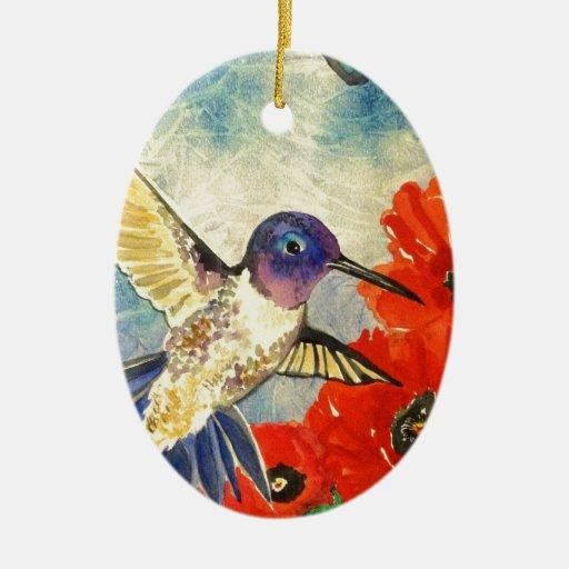 Pájaros y amapolas del tarareo adorno navideño ovalado de cerámica