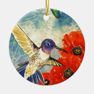 Pájaros y amapolas del tarareo adorno navideño redondo de cerámica