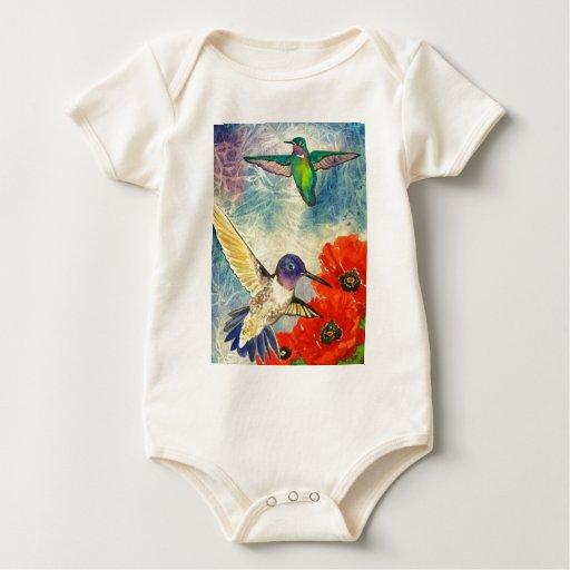 Pájaros y amapolas del tarareo body de bebé