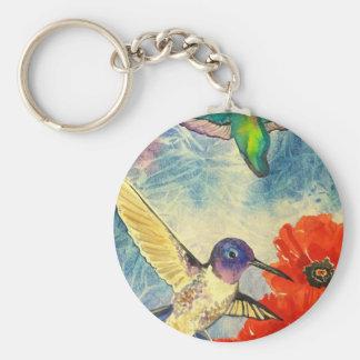 Pájaros y amapolas del tarareo llavero redondo tipo pin