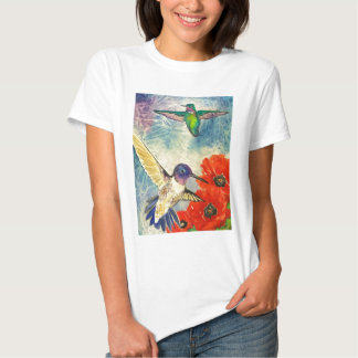 Pájaros y amapolas del tarareo polera
