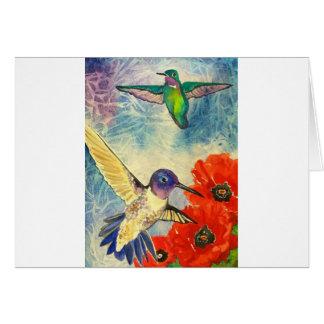 Pájaros y amapolas del tarareo tarjeta de felicitación