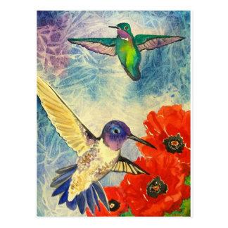 Pájaros y amapolas del tarareo tarjetas postales