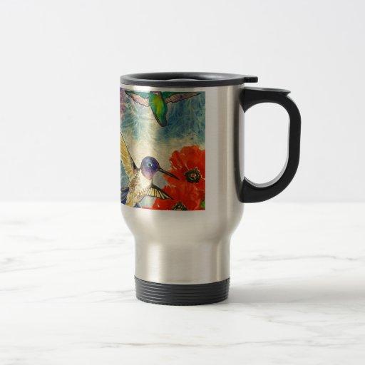 Pájaros y amapolas del tarareo taza de viaje de acero inoxidable