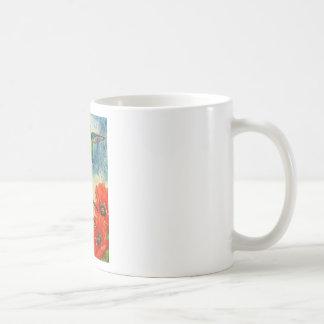 Pájaros y amapolas del tarareo taza de café