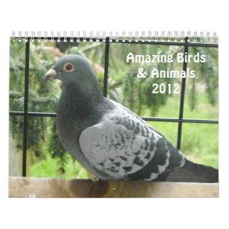 Pájaros y animales asombrosos 2012 calendarios