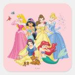 Pájaros y animales de la princesa el | de Disney Pegatina Cuadrada