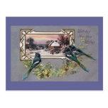 Pájaros y Año Nuevo del vintage de la escena del Postal