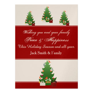 Pájaros y árbol de navidad rojos de la tela comunicados personales