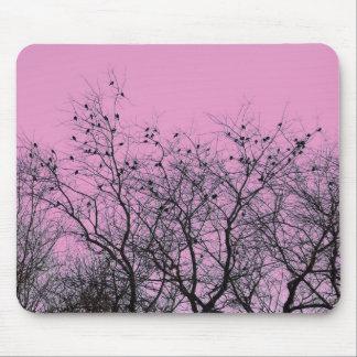 Pájaros y árboles rosados Mousepad Alfombrilla De Ratones