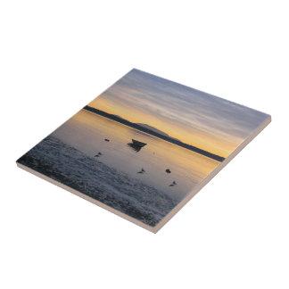 Pájaros y barco de mar azulejo cuadrado pequeño