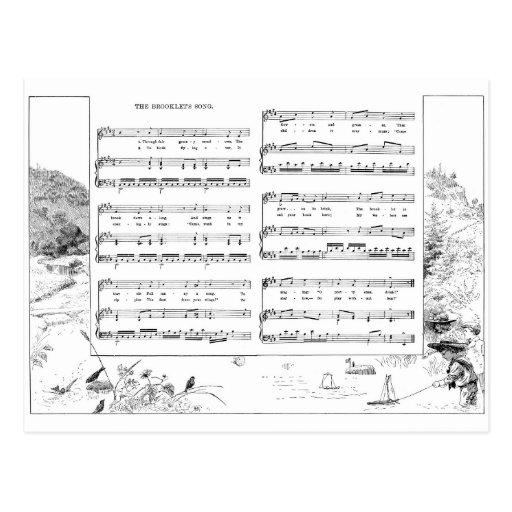 Pájaros y barcos en una canción y una música del postales