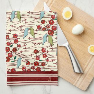 Pájaros y bayas del invierno (cones monograma) toallas de mano