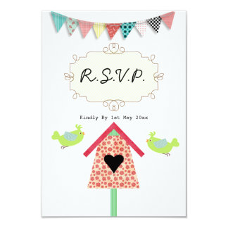 """Pájaros y Birdhouse caprichosos lindos R.S.V.P. Invitación 3.5"""" X 5"""""""